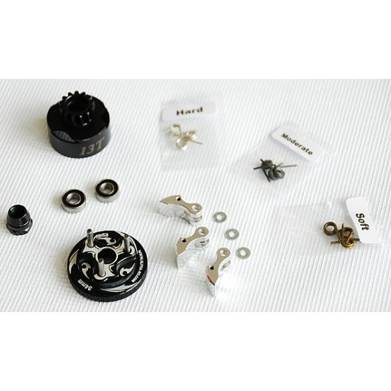 Alpha Plus Alpha Clutch Combo Set (13T Vented Clutch Bell +Bearing 5*10 ( 2pcs) + 34 mm Flywheel(Black) + 3pc Type cluth shoe (Alum) with 3 different springs and washers + Clutch Nut
