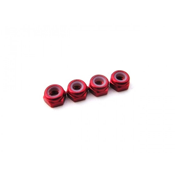 Hiro Seiko 3mm Alloy Nylon Nut (S_Size)  [Red] ( 4 pcs)