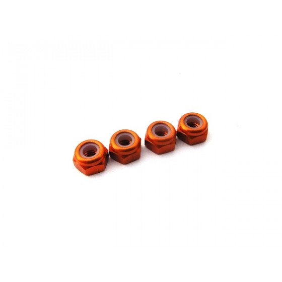 Hiro Seiko 3mm Alloy Nylon Nut (S_Size)  [Orange] ( 4 pcs)