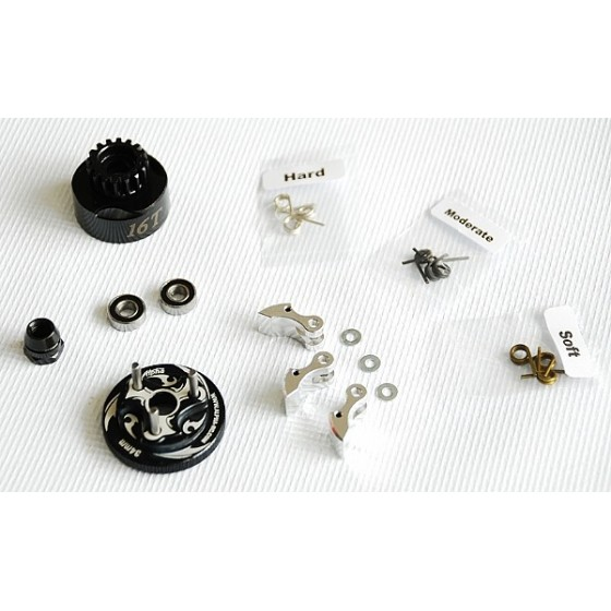 Alpha Plus Alpha Clutch Combo Set (16T Vented Clutch Bell +Bearing 5*11 ( 2pcs) + 34 mm Flywheel(Black) + 3pc Type cluth shoe (Alum) with 3 different springs and washers + Clutch Nut