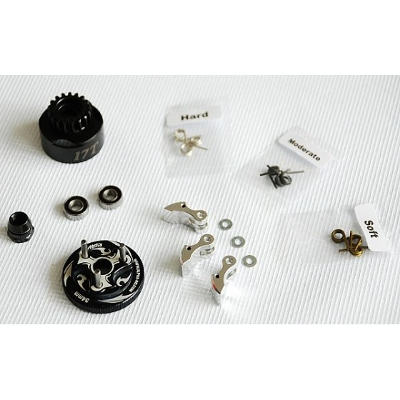Alpha Plus Alpha Clutch Combo Set (17T Vented Clutch Bell +Bearing 5*11 ( 2pcs) + 34 mm Flywheel(Black) + 3pc Type cluth shoe (Alum) with 3 different springs and washers + Clutch Nut
