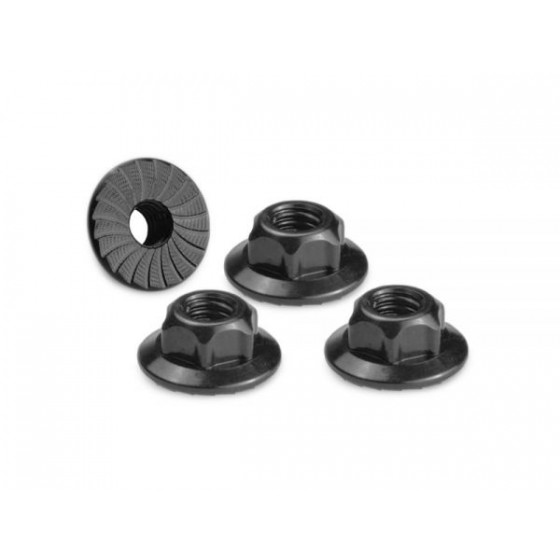 Jconcepts 4mm large flange serrated locknut - black (fits, B6, B5, TLR, Xray, Serpent, Kyosho)