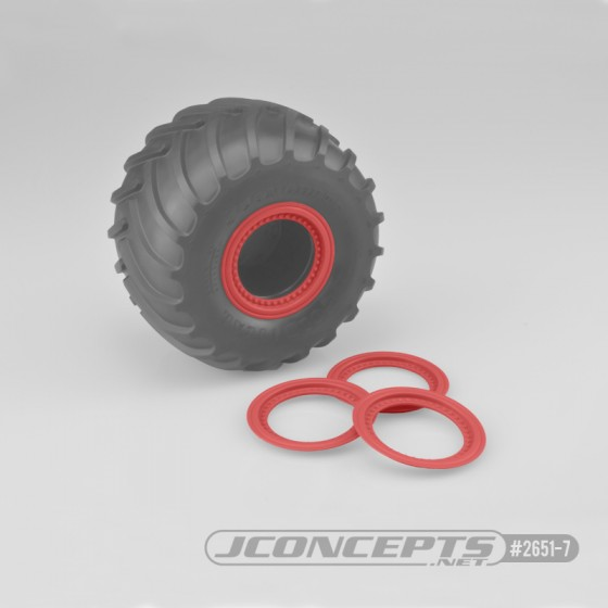 Jconcepts Tribute wheel beadlocks - red - glue-on set, 4pc. (Fits - #3377 Tribute wheels)