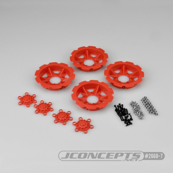 Jconcepts Tracker wheel discs - red (fits - #3379 Dragon wheels)