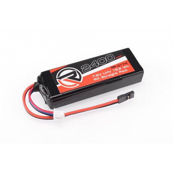 RUDDOG 2400mAh 7.6V LiHV RX Straight Pack (Fits Associated/Mugen/Sworkz/Xray)