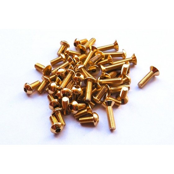 Hiro Seiko Alloy Hex Socket Button Head Screw M3x12  [Gold] (5pcs)