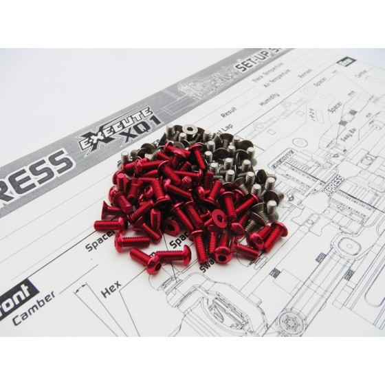 Hiro Seiko XQ1 Titan/Alum Hex Socket Screw Set (106pcs) [Red]