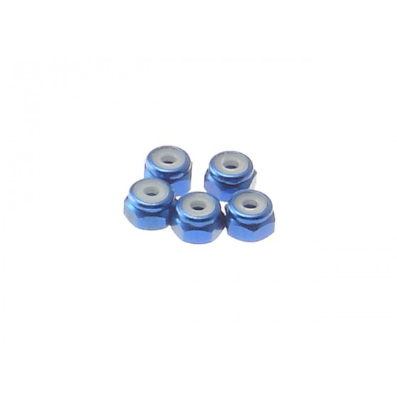 Hiro Seiko 2mm Alloy Nylon Nut  [Y-Blue] ( 5 pcs)