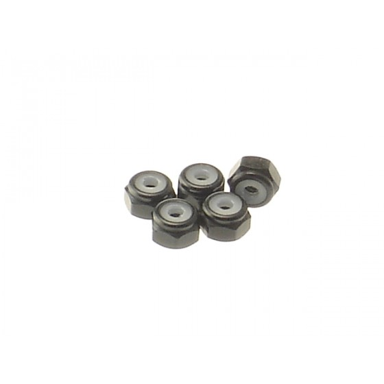 Hiro Seiko 2mm Alloy Nylon Nut  [Black] ( 5 pcs)
