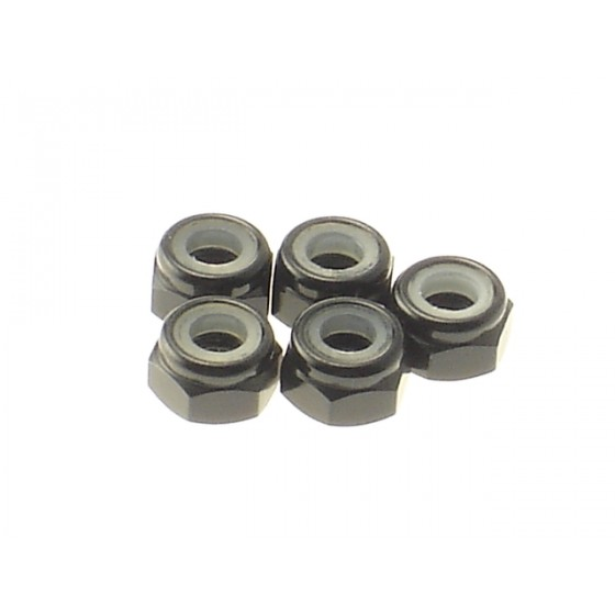 Hiro Seiko 4mm Alloy Nylon Nut  [Black] ( 5 pcs)