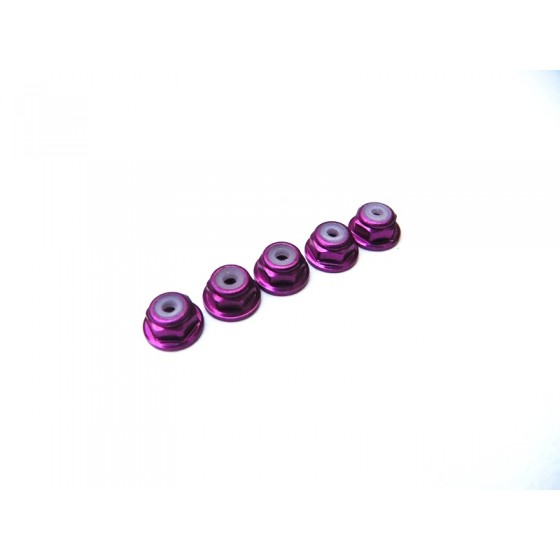 Hiro Seiko 2mm Alloy Flange Nylon Nut  [Pruple] ( 5 pcs)