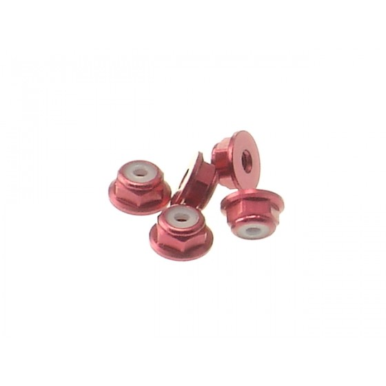 Hiro Seiko 2mm Alloy Flange Nylon Nut  [Red] ( 5 pcs)