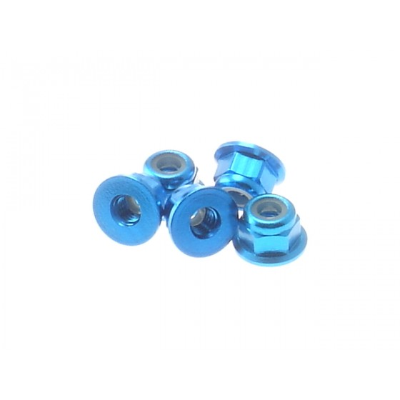 Hiro Seiko 3mm Alloy Flange Nylon Nut  [T-Blue] ( 5 pcs)