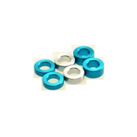 Hiro Seiko 3mm Alloy Spacer Set (1.5t/2.0t/2.5t)  [T-Blue] ( 6 pcs (2 pcs each))
