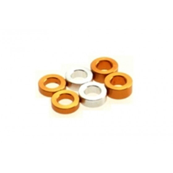 Hiro Seiko 3mm Alloy Spacer Set (1.5t/2.0t/2.5t)  [Orange] ( 6 pcs (2 pcs each))