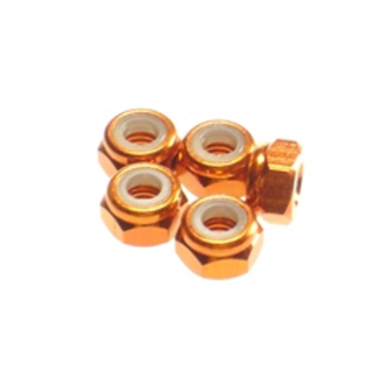 Hiro Seiko 4mm Alloy Nylon Nut  [Orange] ( 5 pcs)