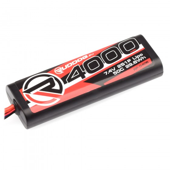 RUDDOG 4000mAh 50C 7.4V LiPo Round Stick Pack Battery with T-Style Plug