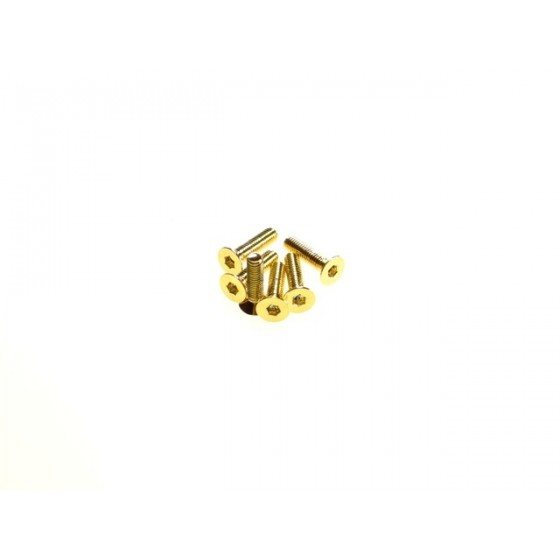 Hiro Seiko Hex Socket Flat Head Screw M3x14  [24K_Gold] ( 6 pcs)
