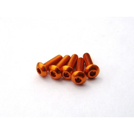Hiro Seiko Alloy Hex Socket Button Head Screw M3x8  [Orange] ( 5 pcs)