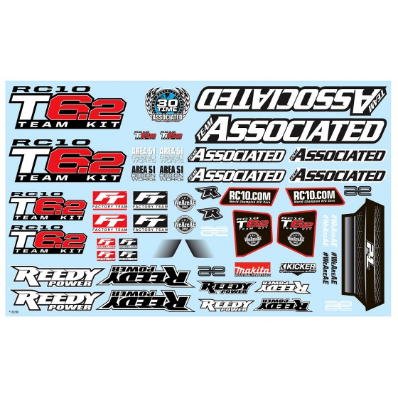 Team Associated RC10T6.2 Decal Sheet