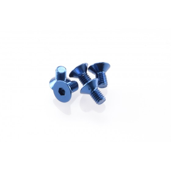 Hiro Seiko Alloy Hex Socket Flat Head Screw M3x6  [Y-Blue] ( 5 pcs)