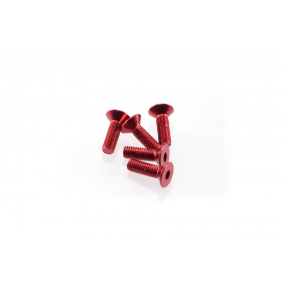 Hiro Seiko Alloy Hex Socket Flat Head Screw M3x10  [Red] ( 5 pcs)
